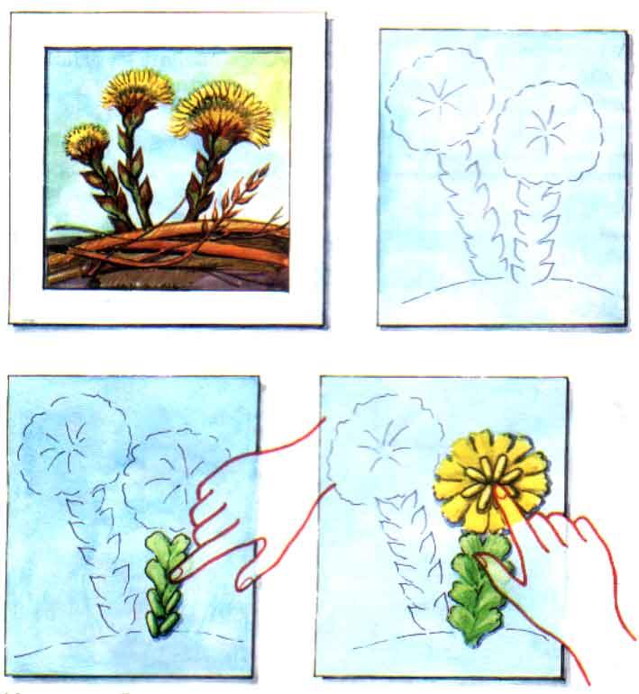 Аппликация из ткани цветы: аппликация.