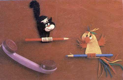 Держатель для карандаша у телефона (кот и попугай)
