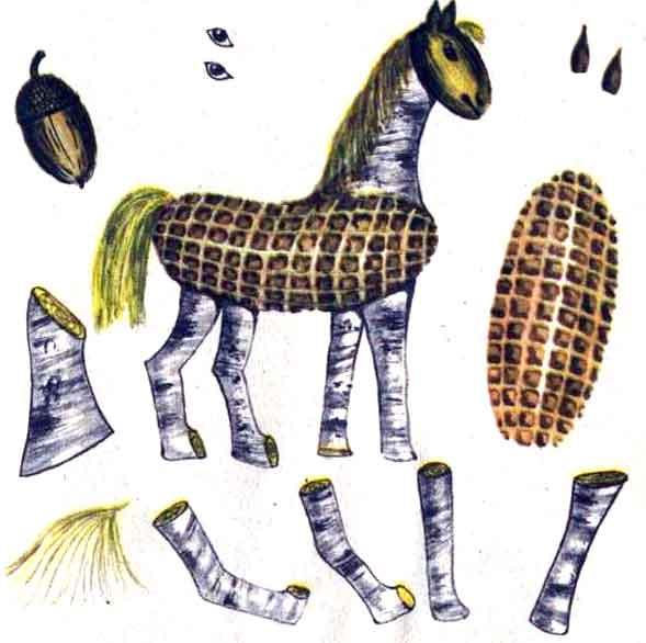Поделки из кукурузы - Лошадка
