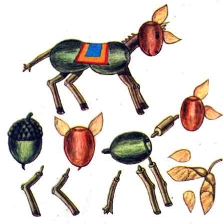 Поделки из земляного ореха и желудей - Ослик