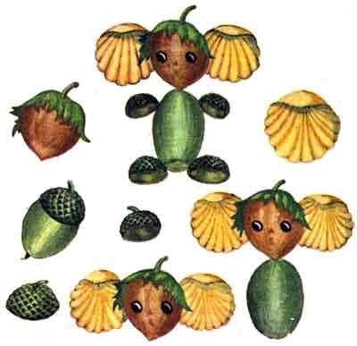 Поделки из лесного ореха, желудей и ракушек - Чебурашка