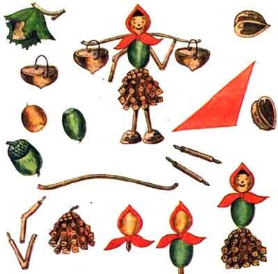 Поделки из сосновых шишек и желудей - Девочка с коромыслом