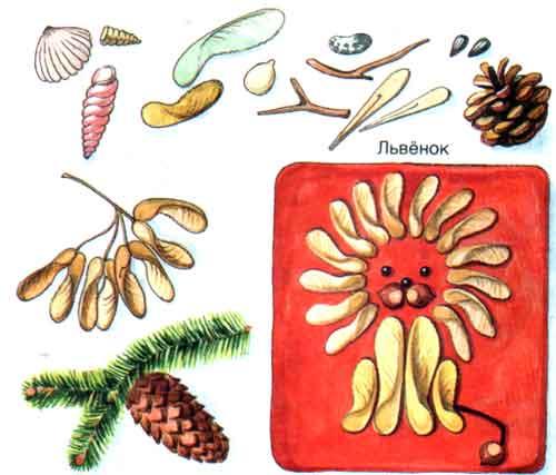 Все подделки: Поделки из семян клена, сосны и ели - Львенок.