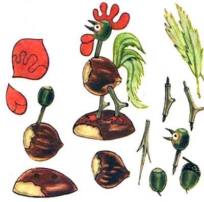 Поделки из желудей и каштанов - Петушок