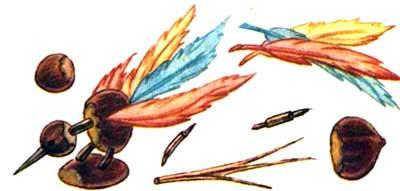 Поделки из перьев и каштанов - Птичка