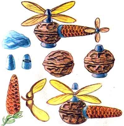 Поделки из грецкого ореха и еловых шишек - Вертолет