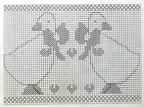 Эффектные подзоры с гусями - вышивка крестом