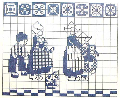 Тесьма с голландскими мотивами - вышивка крестом