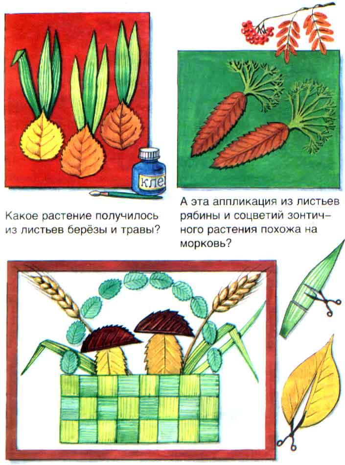 Аппликации из листьев и травы. Овощи