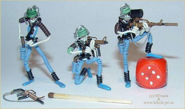 Поделки из проволоки - солдатики