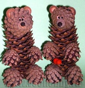 Медведь и лиса - поделки из природного материала