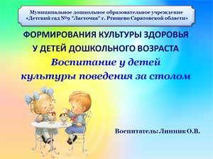 Воспитание привычек и культуры поведения за столом у детей дошкольного возраста