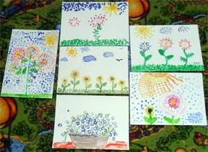 Конспект занятия с использованием нетрадиционных методов рисования (пуантилизм). Тема: «Праздник замечательных цветов».