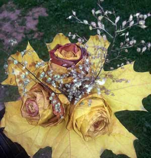 Поделка из природного материала Красивые розы из кленовых листьев