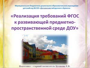 «Реализация требований ФГОС к развивающей предметно-пространственной среде ДОУ»