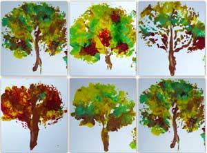 Конспект НОД по рисованию с применением нетрадиционной технологии Осеннее дерево во второй младшей группе