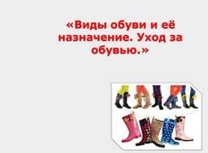Конспект НОД «Виды обуви и её назначение. Уход за обувью»