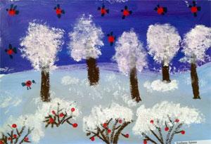 Конспект совместной образовательной деятельности «Зимнее дерево» (нетрадиционные техники рисования)