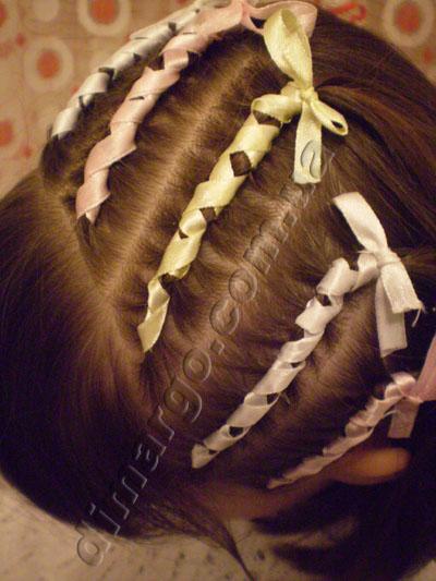 Французские косички для девочек: оплетка атласной лентой